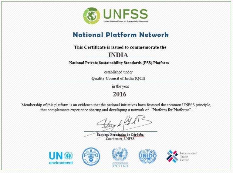INDIAN NATIONAL PLATFORM ON PRIVATE SUSTAINABILITY STANDARDS