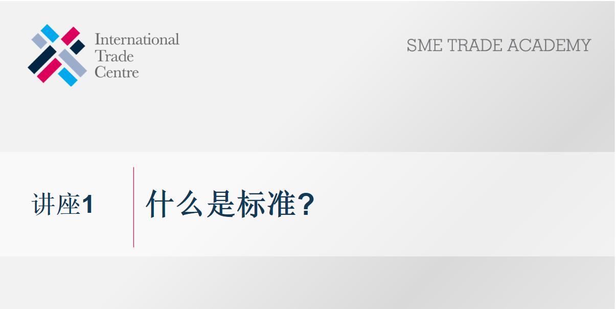 联合国国际贸易中心(ITC)关于标准的讲座